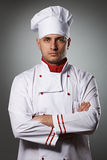 Male chef portrait. Against grey background Royalty Free Stock Image