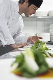 Male Chef Preparing Salad In Kitchen Royalty Free Stock Photography