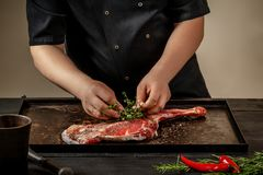 Male chef rubbing raw lamb shanks with greens and spices on stone tray on wooden table. Chef cooking appetizing shank of. Lamb. Training, master class, courses Royalty Free Stock Photos
