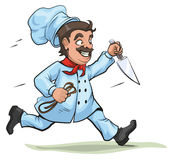 Male Chef runs with knife and rope Royalty Free Stock Photo