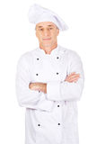 Male chef standing with folded arms. Restaurant experienced chef standing with folded arms Stock Photos