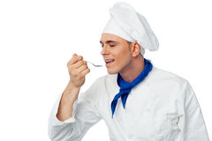 Male chef tasting the food Royalty Free Stock Photos