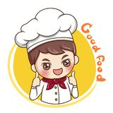Male Chef_vector_1. Illustration of cartoon character male chef put a cook hat and chef uniform vector illustration