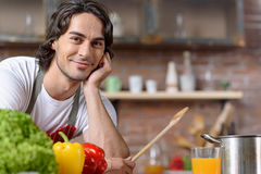 Male chef waiting for healthy food Stock Images