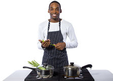 Male Chef on a White Background Stock Photos