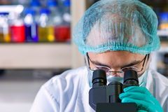 Male chemist t working in a laboratory Royalty Free Stock Image