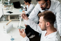 Male chemists in lab coats examining reagent in flask. Young male chemists in lab coats examining reagent in flask Royalty Free Stock Photography