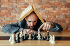 Male chess player with board on his head royalty free stock image