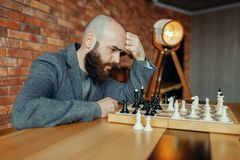 Male chess player playing, thinking process royalty free stock photos