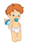 Male child with the baby bottle Royalty Free Stock Images