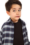Male child with fear expression. Young male boy with fear expression on white background Royalty Free Stock Images