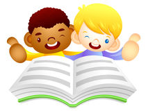 Male children are reading a big book. Education and life Charact Stock Photos