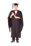 Male chinese graduate. Happy male chinese university graduate full length portrait isolated on white Royalty Free Stock Photos