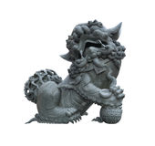 Male chinese stone lion statue. On white background Stock Photography