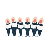 Male chorus in action. Vector illustration isolated on white background Stock Image
