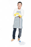 Male cleaner. Chinese male with cleaning sweep, white background Stock Images