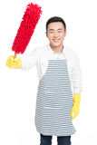 Male cleaner. Picture of male with cleaning sweep, white background Stock Photography