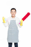 Male cleaner. Picture of male with cleaning sweep, white background Royalty Free Stock Photography