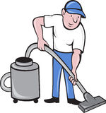 Male Cleaner vacuuming. Illustration of a Male Cleaner vacuuming  with vacuum cleaning isolated on white background done in cartoon style Stock Photo