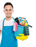 Male with cleaning equipment Royalty Free Stock Images