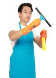 Male with cleaning equipment Stock Images
