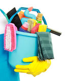 Male cleaning service. Close up portrait of mans hand with cleaning equipment isolated over white background stock photography