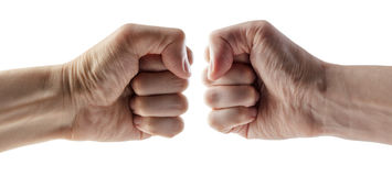 Male clenched fist with clipping path. Stock Photography
