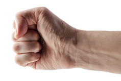 Male clenched fist with clipping path. Stock Photo