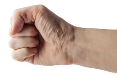 Male clenched fist with clipping path. Stock Image