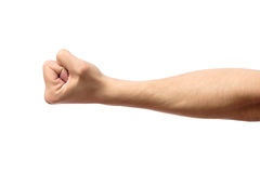 Male clenched fist isolated on white. Male clenched fist, isolated on a white background Royalty Free Stock Image