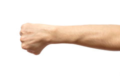 Male clenched fist isolated on white Stock Photos