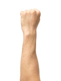 Male clenched fist isolated on white. Male clenched fist, isolated on a white background Royalty Free Stock Photos