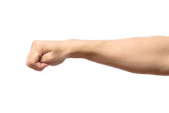 Male clenched fist isolated on white Royalty Free Stock Image