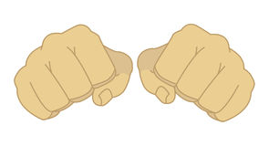 Male clenched fists. Comics style isolated on white Stock Photo