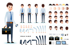 Male Clerk Character Creation Kit Template with Different Facial Expressions Stock Photos