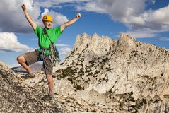 Climber on the top. royalty free stock photos