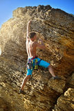 Male climber in mountains. Royalty Free Stock Images