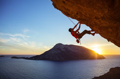 Free Male Climber On Overhanging Rock Stock Images - 79336224