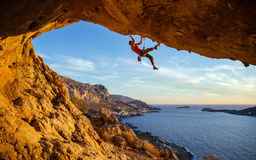 Free Male Climber On Overhanging Rock Stock Photos - 79342793