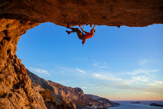Male climber on overhanging rock Stock Image