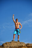 Male Climber Raising Hand Royalty Free Stock Photography