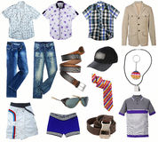 Male clothes collection. Isolated on white Royalty Free Stock Images