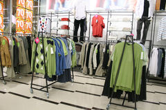 Male clothes in shop. Male clothes department in shop Royalty Free Stock Photography