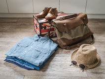 Male clothing and accessories on the wooden background Royalty Free Stock Images