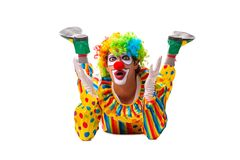 The male clown isolated on white. Male clown isolated on white royalty free stock photos
