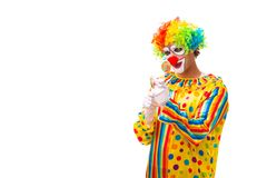 The male clown isolated on white. Male clown isolated on white royalty free stock photo