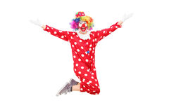 Male clown jumping out of joy. Isolated on white background Royalty Free Stock Photos
