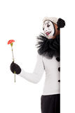 A male clown with a flower in the hand Royalty Free Stock Photo