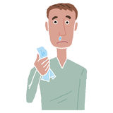Male cold mucus. The man that mucus flows, and physical condition is poor Stock Image