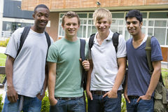 Male college friends on campus